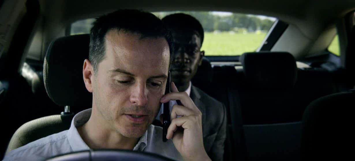 Zdjęcie z serialu Czarne Lustro, który można zobaczyć na Netflix. Obsada odcinka: Andrew Scott, Damson Idris, Topher Grace