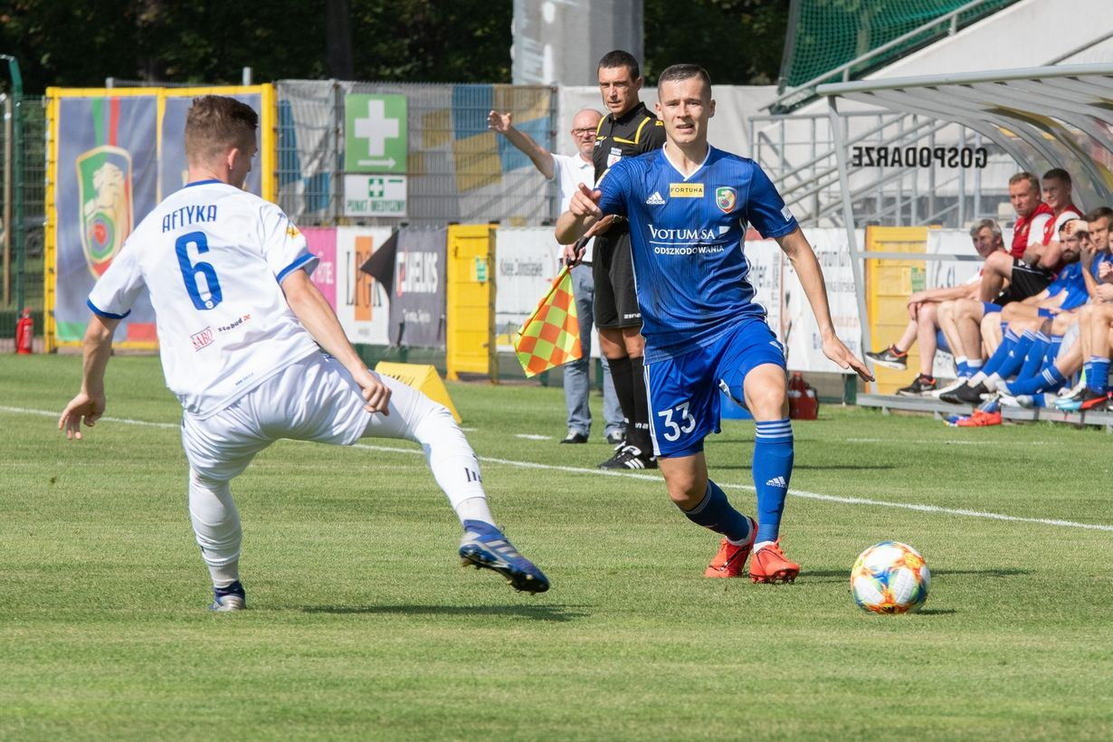 LEGNICA 01.09.2019 SPORT PILKA NOZNA FORTUNA I LIGA SEZON 2019/20 MIEDZ LEGNICA - WIGRY SUWALKI POLISH FIRST LEAGUE FOOTBALL  MIEDZ LEGNICA - WIGRY SUWALKIartur pikk, grzegorz aftyka NZ  FOT. TOMASZ BROWARCZYK / 400mm.pl