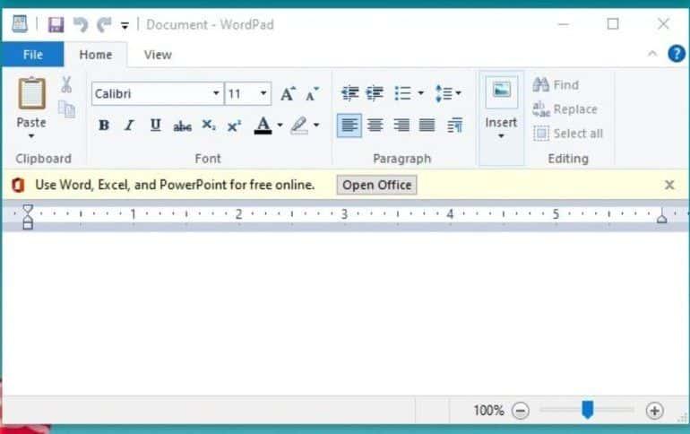 Reklamy w Windows 10 wszędzie. Nawet w edytorze WordPad.